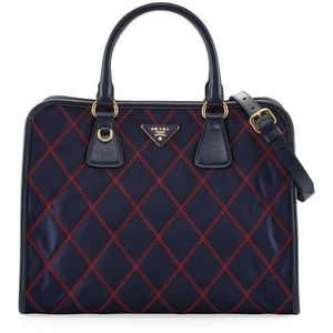 Gorgeous PRADA Bicolor Quilted Top Handle Bag